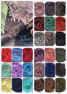 Sertir-effiloche-bords-Crinkle-Maxi-Echarpe-en-Coton-Tissu-Doux-Hijab-Foulards-UK