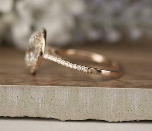 Details about  /3 CT Oval Cut Diamond Half Eternity Perfect Anniversary Ring 14k Rose Gold