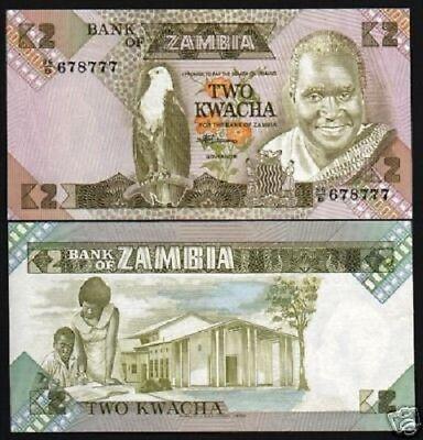 100 PCS ZAMBIA 2 KWACHA 1980-88 P 24 UNC BUNDLE OF