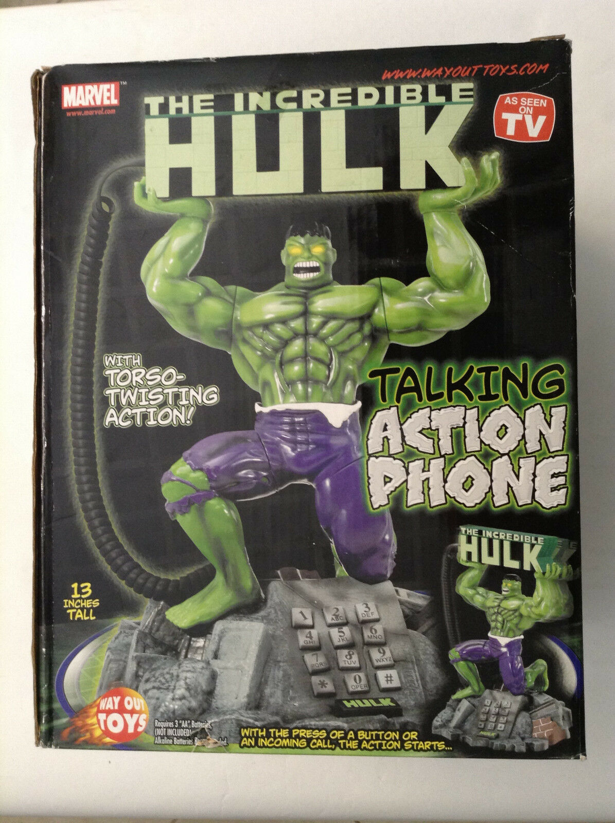 INCREDIBLE HULK TALKING ACTION PHONE w TORSO TWISTING ACTION 13  MARVEL(AVENGERS