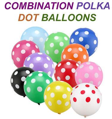 "100 X 12/"" INCH POLKA DOT BABY SHOWER BALONS BALLONS BALLOONS Birthday Wedding"