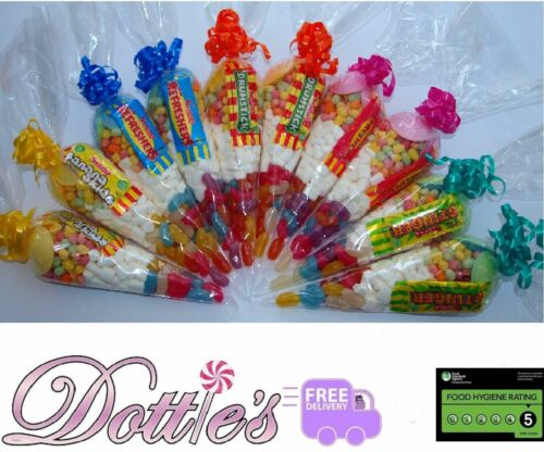 Pre Filled  Childrens Halal Sweet Cones Party Bags free personalised stickers.