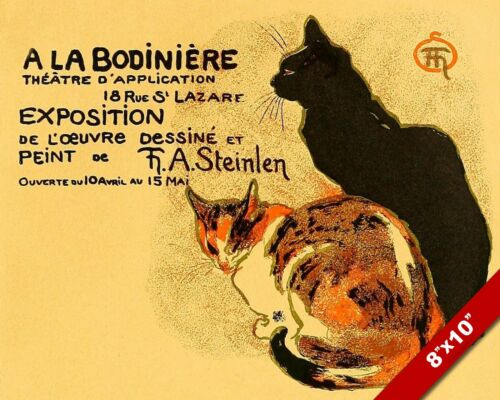 VINTAGE FRENCH THEATER CAT AD POSTER ANIMAL ART PAINTING REAL CANVAS PRINT