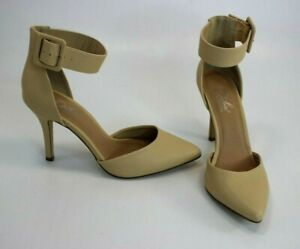 Diba-London-Pizazz-Ankle-Strap-Womens-Pumps-Beige-Size-9M