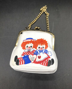 Vintage-HALLMARK-1970s-Raggedy-Ann-and-Andy-Original-Coin-Purse-Chained