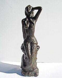 Mermaid Sitting on Rock 31.5 Tall Statue - Aluminum-Bronze Patina