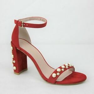 312d2354e0f Image is loading 455-New-Stuart-Weitzman-Morepearls-Red-Suede-Ankle-