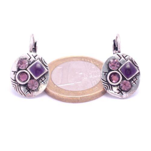 Boucles d/'oreilles Dormeuse à Strass Argentée légère Ronde BFDSC006-violette