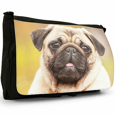 PUG DOG  MESSENGER XPRES CANVAS SCHOOL//COLLEGE BAG BAG PERSONALISE FREE