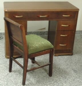 Periods & Styles Antiques Lovely Art Deco Desk With Bakelite Fixtures & Hoover Co Chair