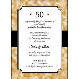 25 Personalized 50th Golden Wedding Anniversary Invitations - AP020 ...
