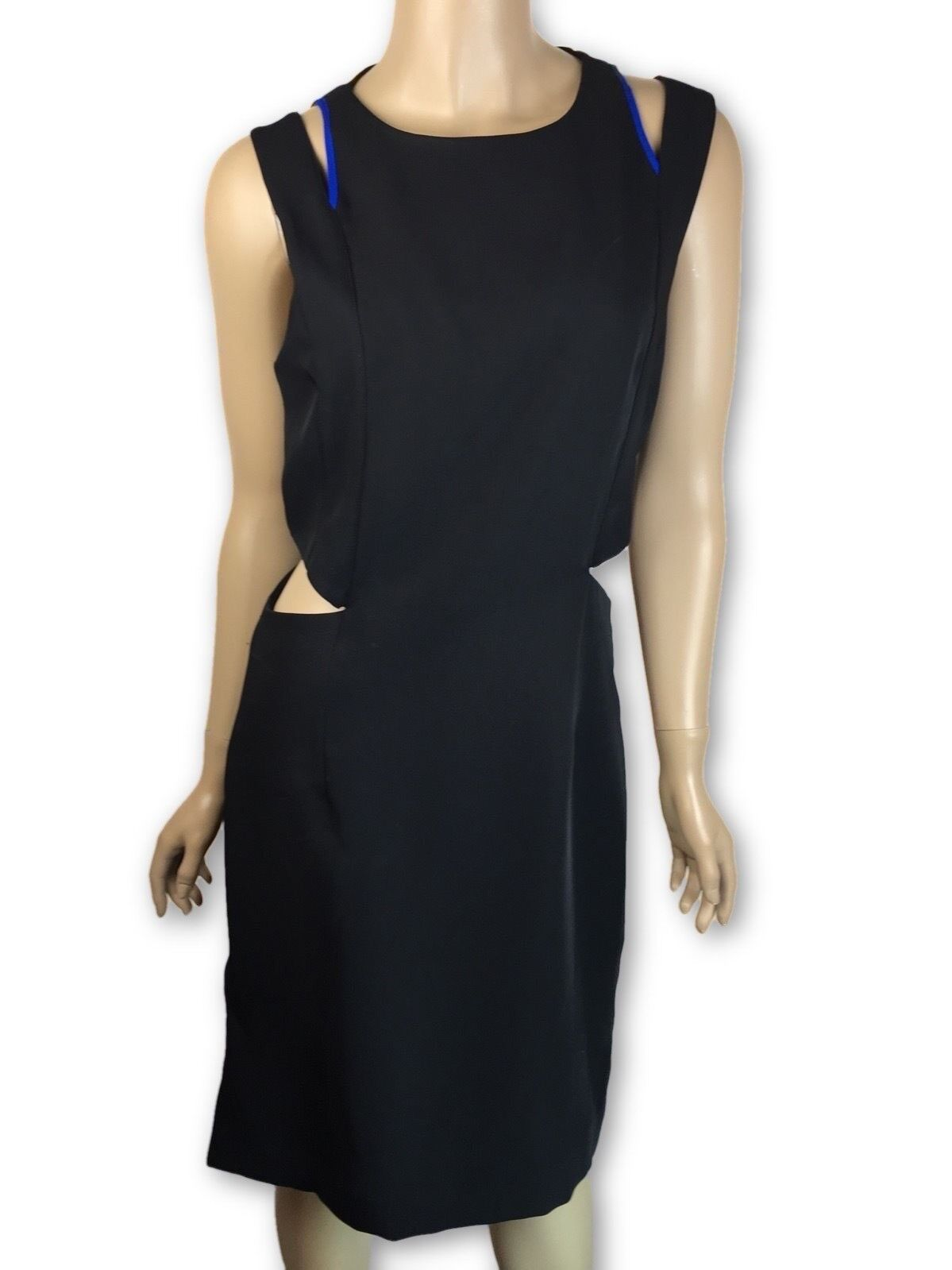 Public School New Größe 4 schwarz Silky Twill Cutout Dress Blau Piping MSRP