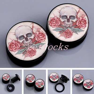 Pair Rose Skull Acrylic Screwed Ear Plugs Tunnels Expander Stretcher Gauge Punk