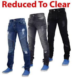 f319027ae7 La foto se está cargando Para-Hombre-Pantalones-Jeans-lodn-Stretch-Denim- Rasgado-