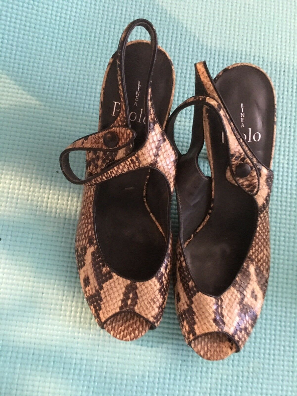Pre owned Animal print leather sling back Paolo Women Sandals size 7.5 Medium