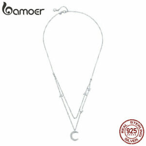 BAMOER-S925-Sterling-Silver-necklace-chain-Moon-amp-stars-With-CZ-For-Women-Jewelry