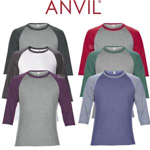 ANVIL-MEN-039-S-RAGLAN-TOP-3-4-SLEEVE-T-SHIRT-TEE-CONTRAST-COLOURS-CASUAL-XS-2XL-NEW