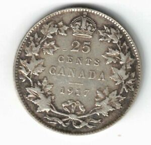 CANADA-1917-TWENTY-FIVE-CENTS-QUARTER-KING-GEORGE-V-STERLING-SILVER-COIN