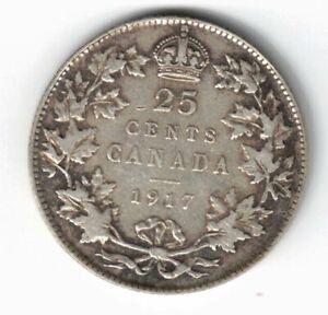 CANADA-1917-TWENTY-FIVE-CENTS-QUARTER-KING-GEORGE-V-STERLING-SILVER-COIN