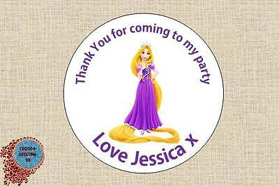 12 X 60mm Personalised Princess Birthday Party Thank You Sticker Labels Seal 09