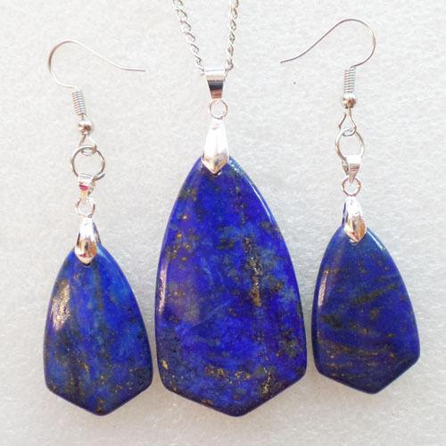 Ll2288 Lapis Lazuli collar y pendiente conjunto enviar al azar