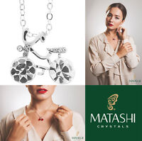 16 Rhodium Plated Necklace W/ Bicycle & Clear Crystals By Matashi on sale