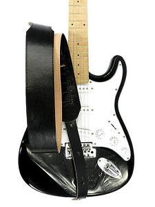 Pelle-Cinghia-Chitarra-Leather-Guitar-Strap-7-cm-di-larghezza-Nero
