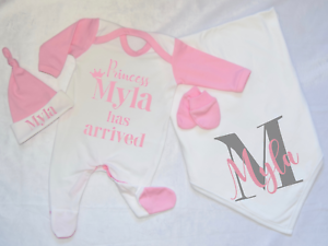 Personalised Princess Has Arrived Babygrow and Hat Set Hospital Outfit New Baby