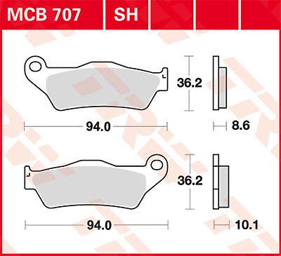 Plaquettes de frein Arrière TRW Lucas MCB707SH BMW R 1200 R ABS R1ST 06-14