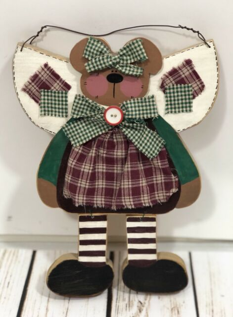 Details About Whimsical Brown Wooden Teddy Bear Plaid Dress Wall Hanging Country