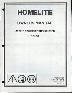 factory homelite hbc 30 string trimmer brush cutter owner s rh ebay com