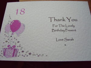 Image Is Loading PERSONALISED BIRTHDAY THANK YOU CARDS 5pk 18th 21st