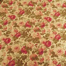 RICHLOOM ROSE BEIGE RED FLORAL UPHOLSTERY FABRIC $9.99/YD BTY 322FS
