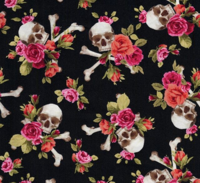 Michael Miller Gothic Skulls Black Fabric - End of Roll Remnant 25cm x 110cm