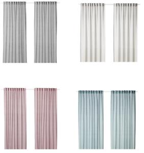 Details zu IKEA HILJA Vorhang, Gardine, (Gardinenpaar 2x 145x300 cm) grau  rosa blau weiß