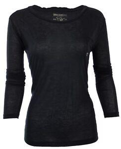 TRUE-RELIGION-Womens-LS-T-Shirt-BLACK-Rhinestones-Horseshoe-Pocket-68-Jeans-NWT