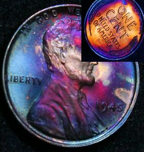 UNCIRCULATED-1945-P-BU-40d-VIBRANT-Rainbow-MONSTER-Toned-Penny-Wheat-Cent