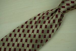 Luciano-Barbera-Gold-Scarlet-Red-Geometric-Link-100-Silk-Tie-Made-Italy