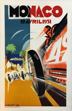 Monaco 1966 vintage auto race travel promo poster repro 16x24