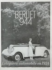 PUBLICITE-DE-PRESSE-1933-BERLIET-944-L-039-ELEGANCE-AUTOMOBILE-EN-1934