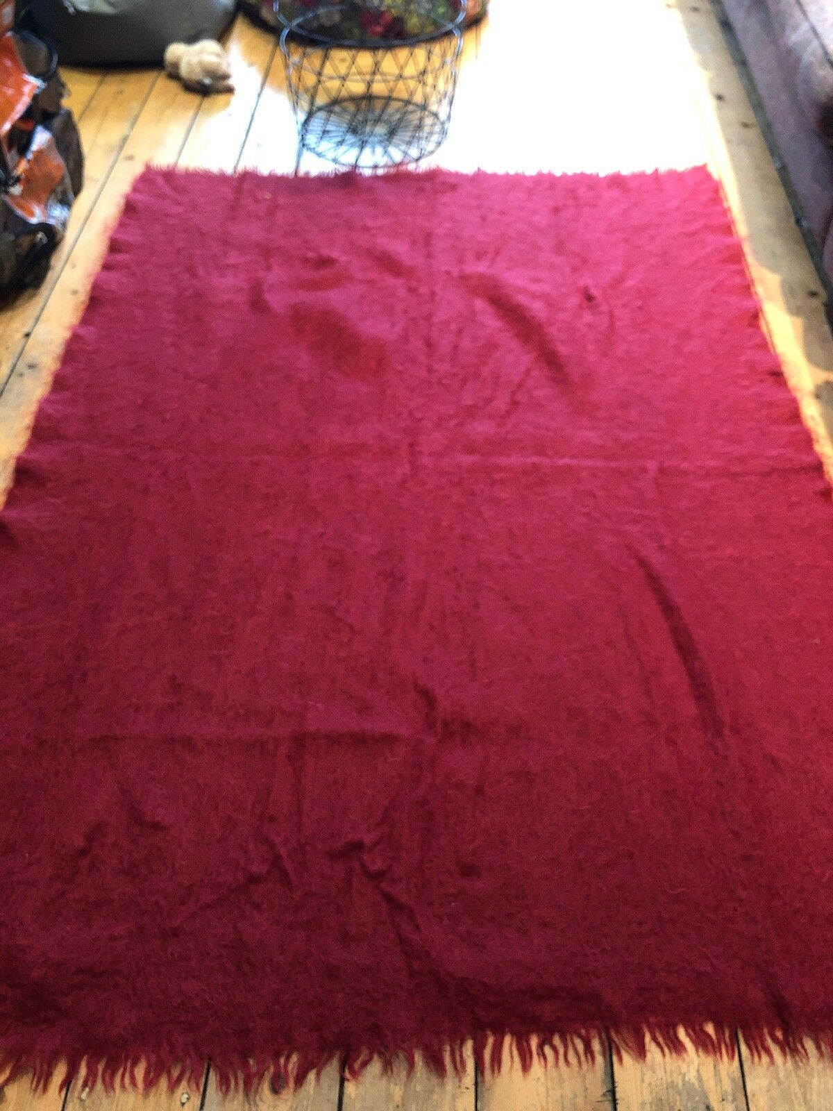 Lanzar Bronte en casa Rico Rojo Mohair & Pure corderos lana hecho en el Reino Unido Rrp