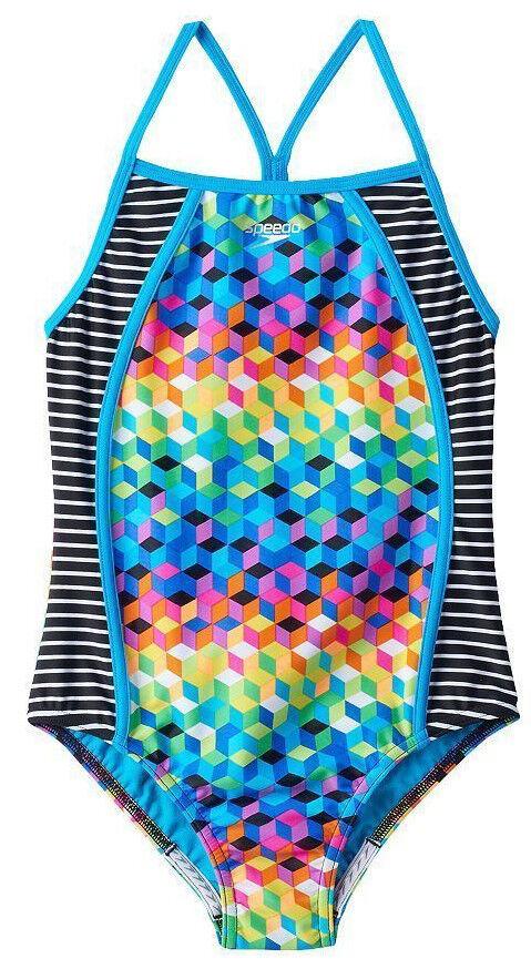 93874708260d5 Speedo Girls Geometric Design One Piece Swimsuit Size 16 Colorful ...