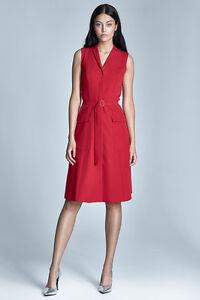 boutonnee ceinture sans mode rouge Robe femme manches N0wOkPX8nZ