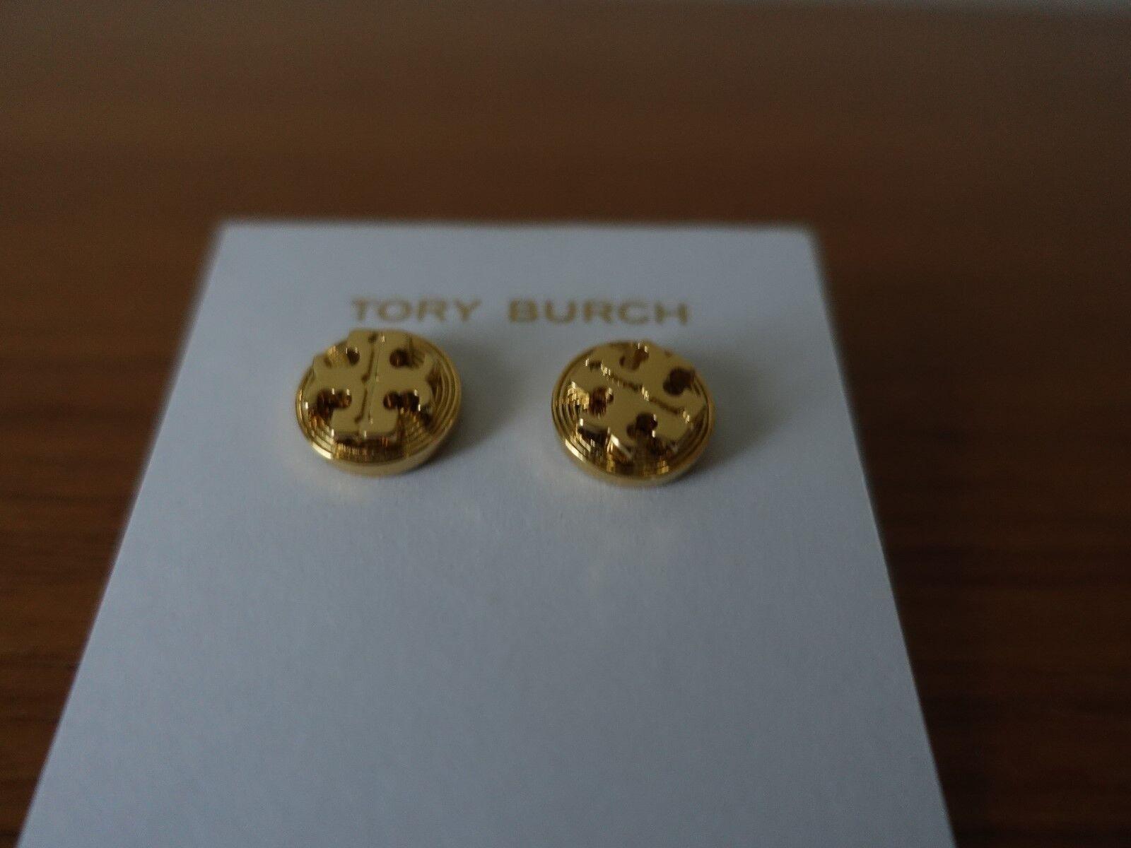 TORY BURCH LIVIA gold STUD EARRINGS. NEW