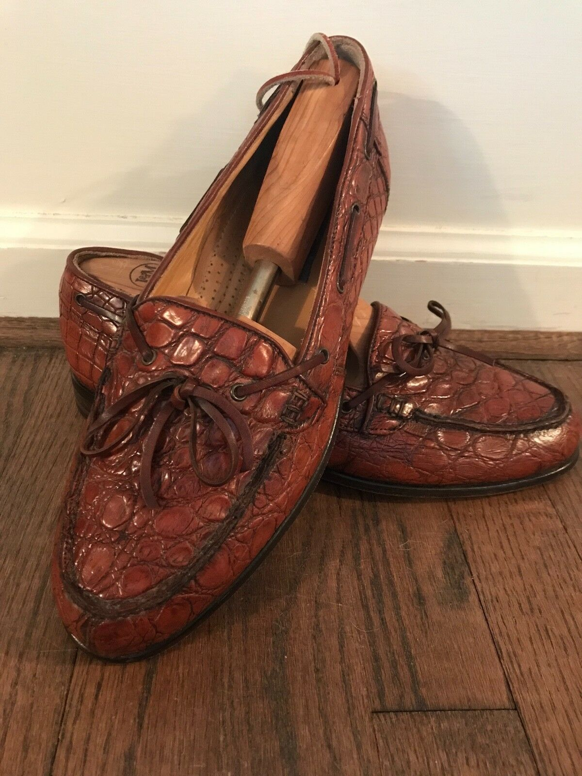 Zelli Doral Crocodile Twist Tie Loafers, 9.5 W, Cognac brown, Worn once