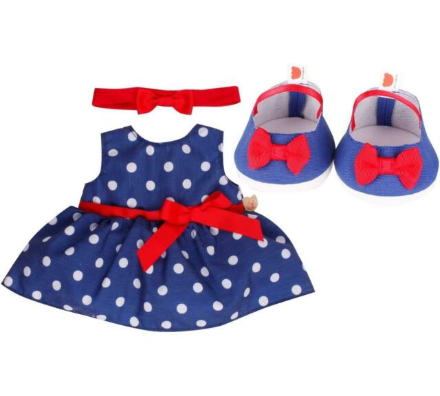 DESIGN A BEAR BLUE & RED SPOTTY POLKA DOT DRESS OUTFIT – TEDDY CLOTHES - BUILD