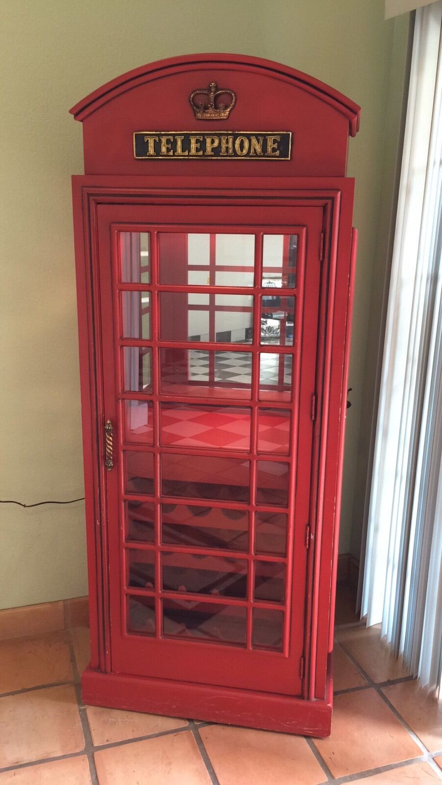 Red British Phone Booth Wood Wine Bar Cabinet Old Cast Iron Style England