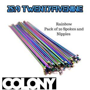 COLONY-Bmx-Spokes-amp-Nipples-RAINBOW-20PK-184mm