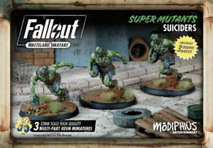 Modiphius - Fallout  Super Mutants Suiciders (3) 35mm Sci-Fi Wargaming UNPAINTED