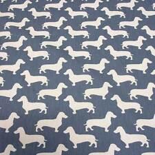 Stoff Meterware Baumwolle Schweden Dackel Hund Waldi jeans blau weiß Country Neu